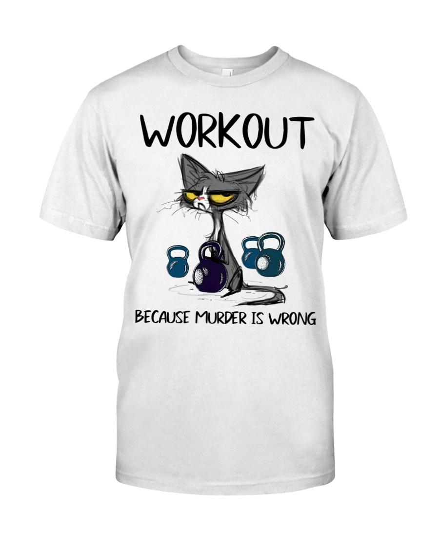 Cat workout because murder is wrong shirt as