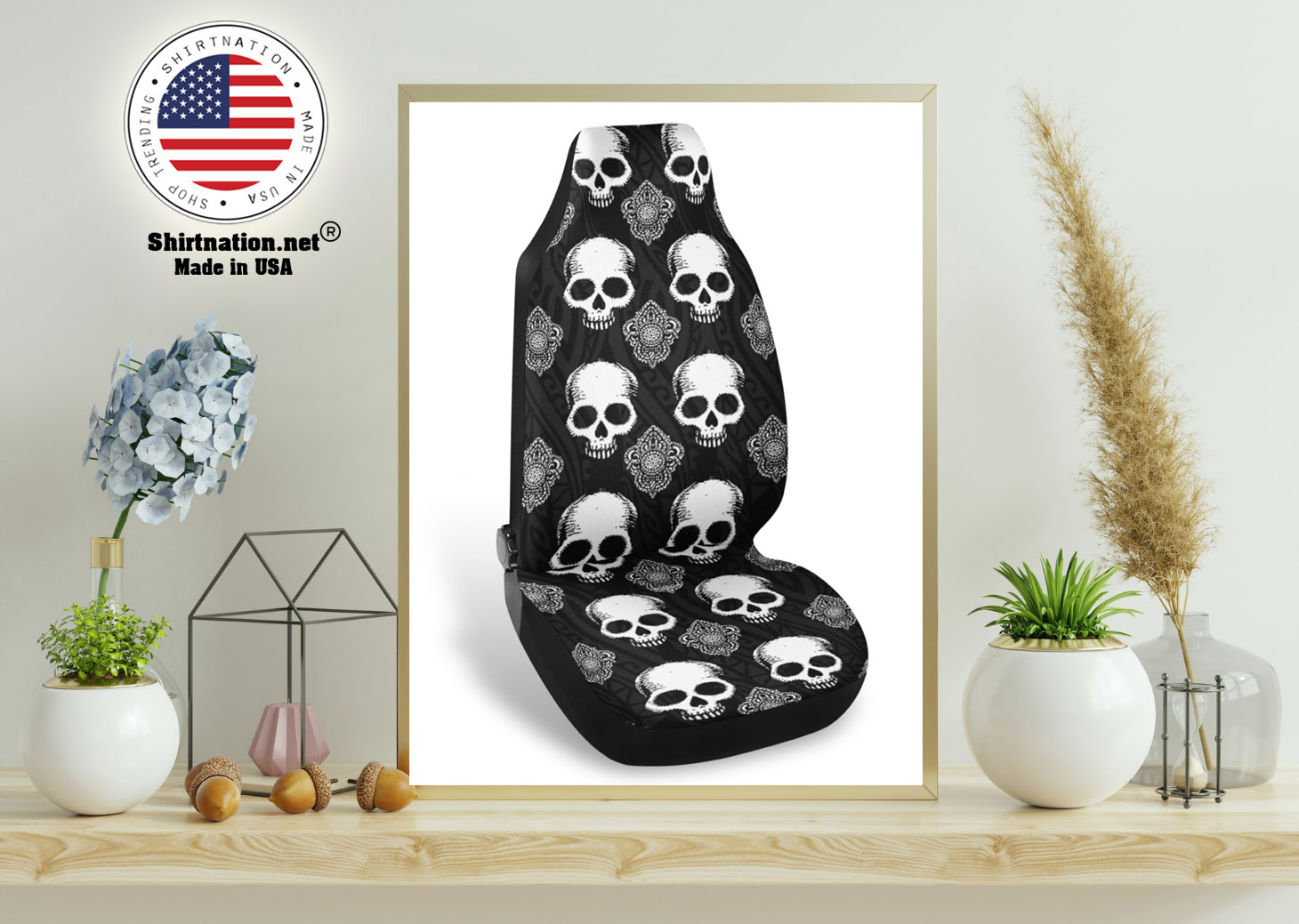 Goth skull car seat covers 11