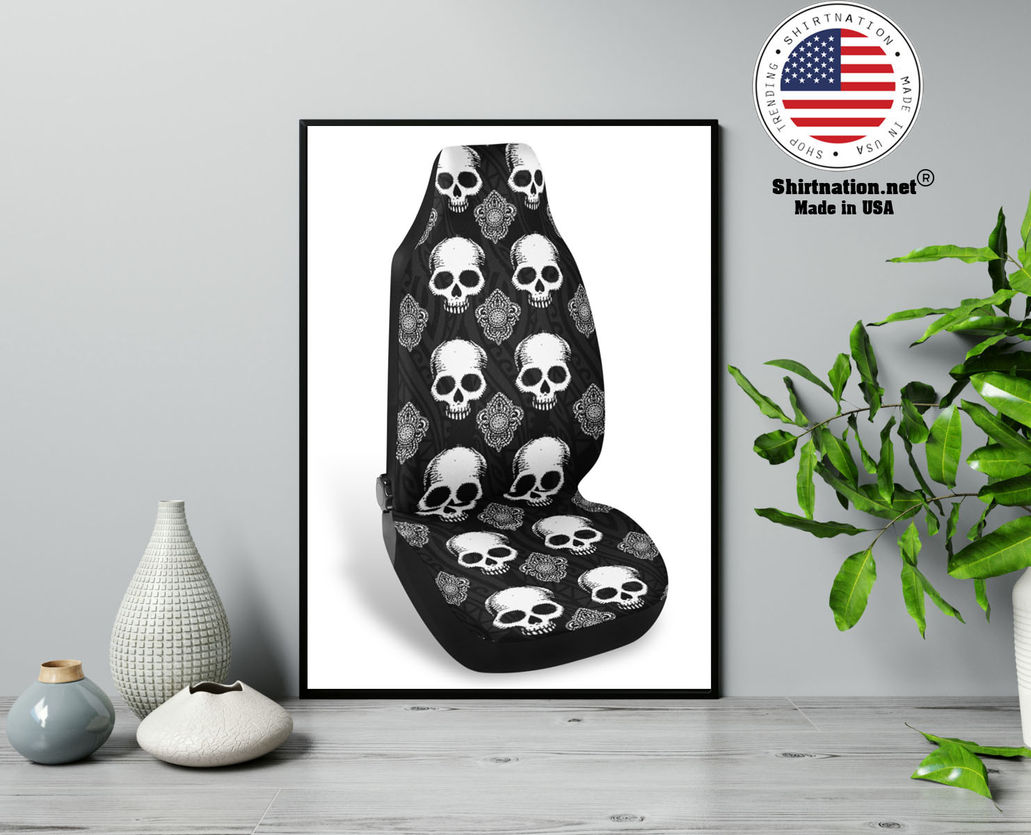 Goth skull car seat covers 13