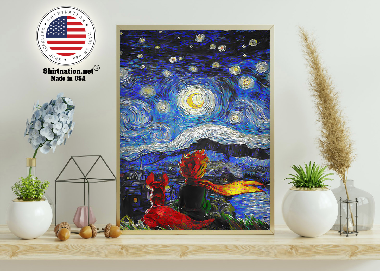 Little prince and fox starry night Van Gogh poster 11