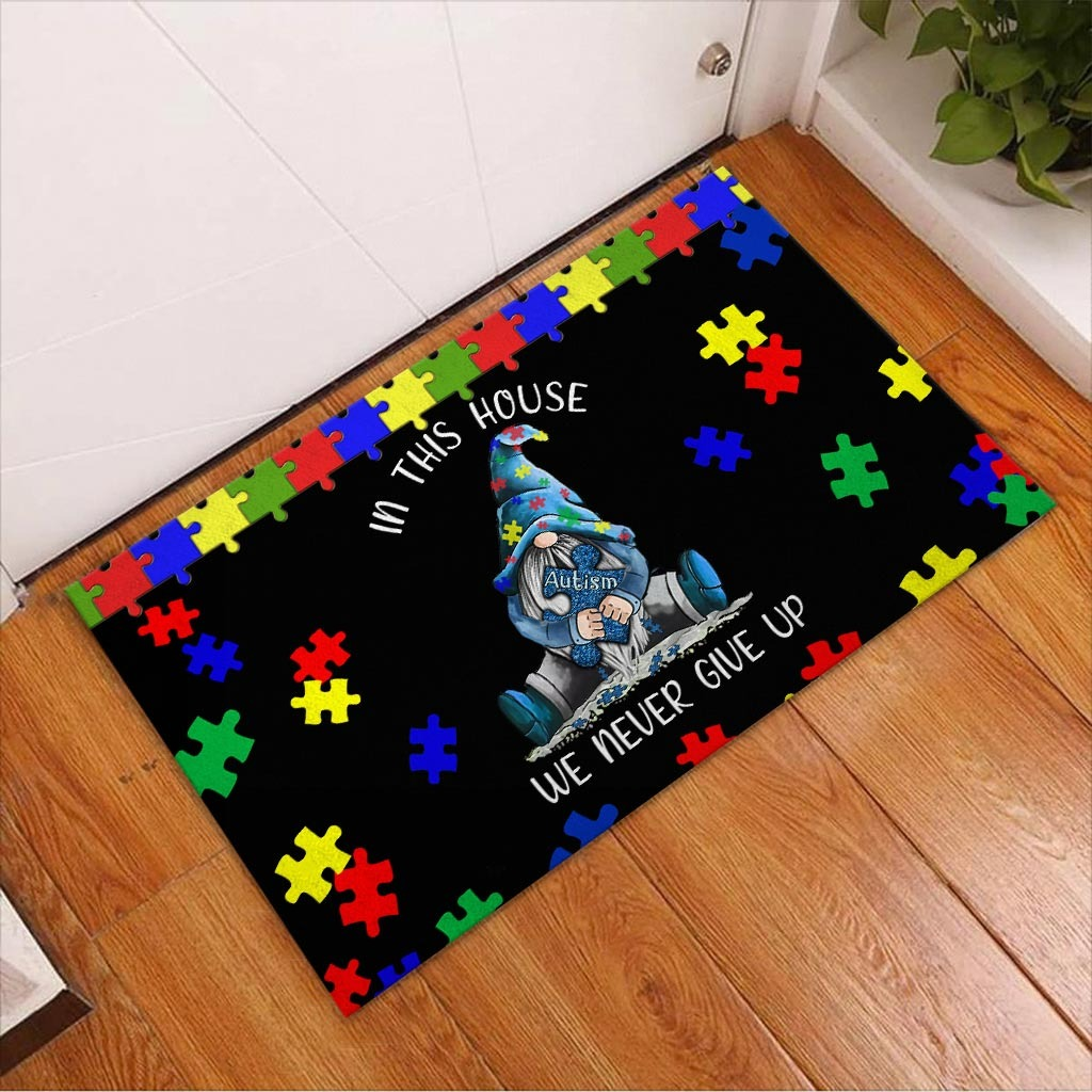 Autism Awareness Gnomes In this house we never give up doormat2