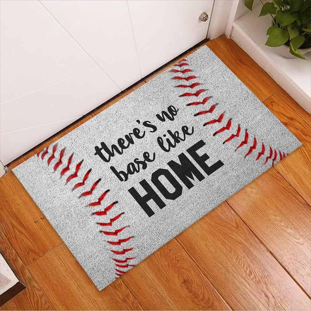 Baseball Theres no base like home doormat3