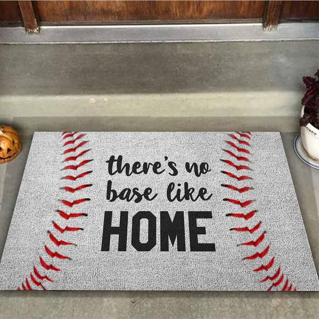 Baseball Theres no base like home doormat2