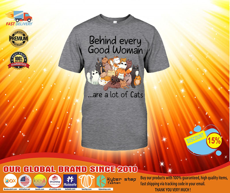 Behind every good woman are a lot of cats T shirt3