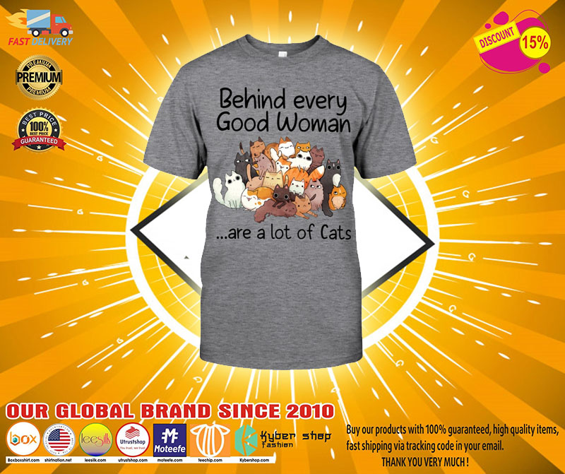 Behind every good woman are a lot of cats T shirt2