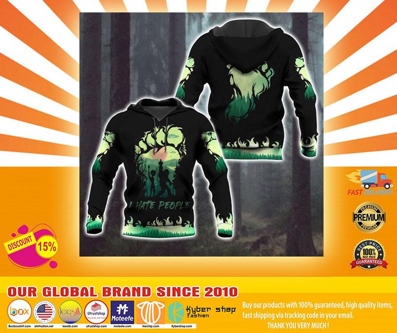 Bigfoot and Alien I Hate people green 3d hoodie4