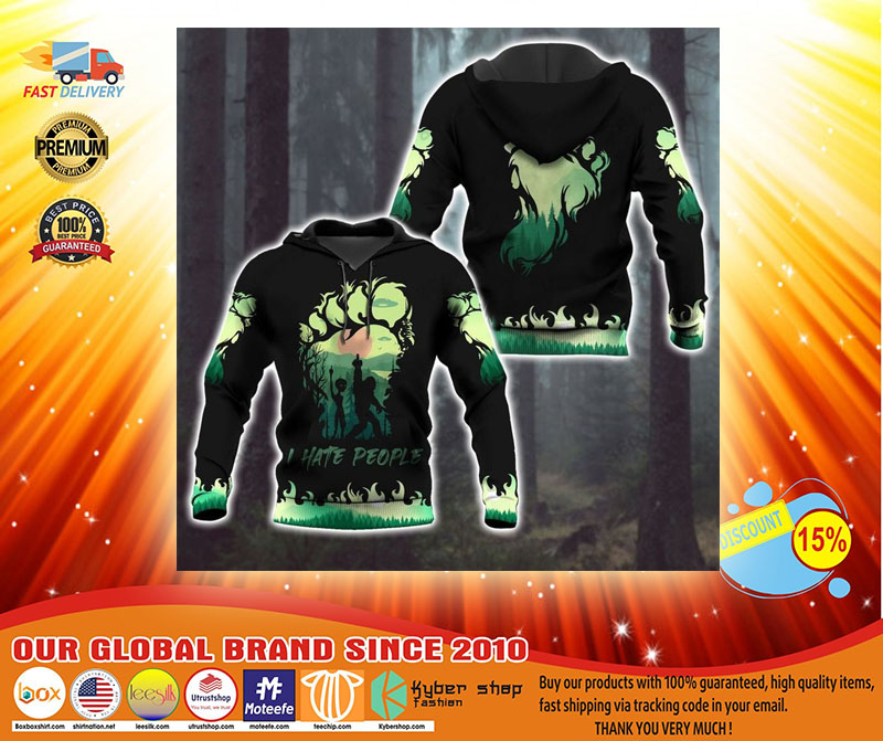 Bigfoot and Alien I Hate people green 3d hoodie3