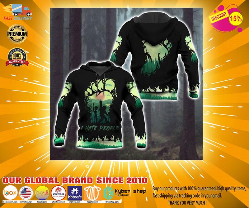 Bigfoot and Alien I Hate people green 3d hoodie2