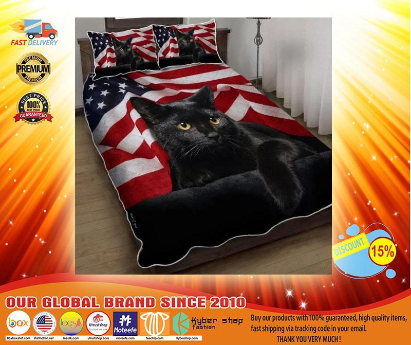 Black cat American flag quilt bedding set4