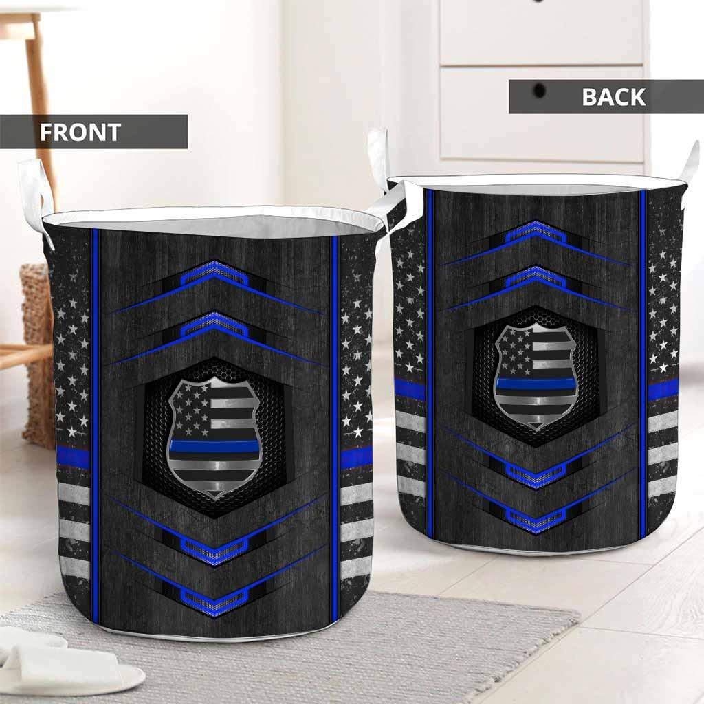 Blue line police basket laundry2