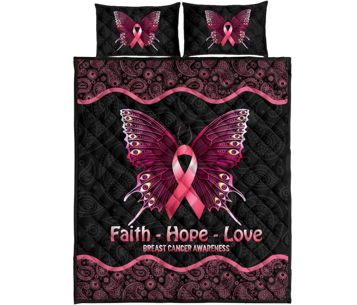 Butterfly faith hope love breast cancer awareness quilt bedding set4