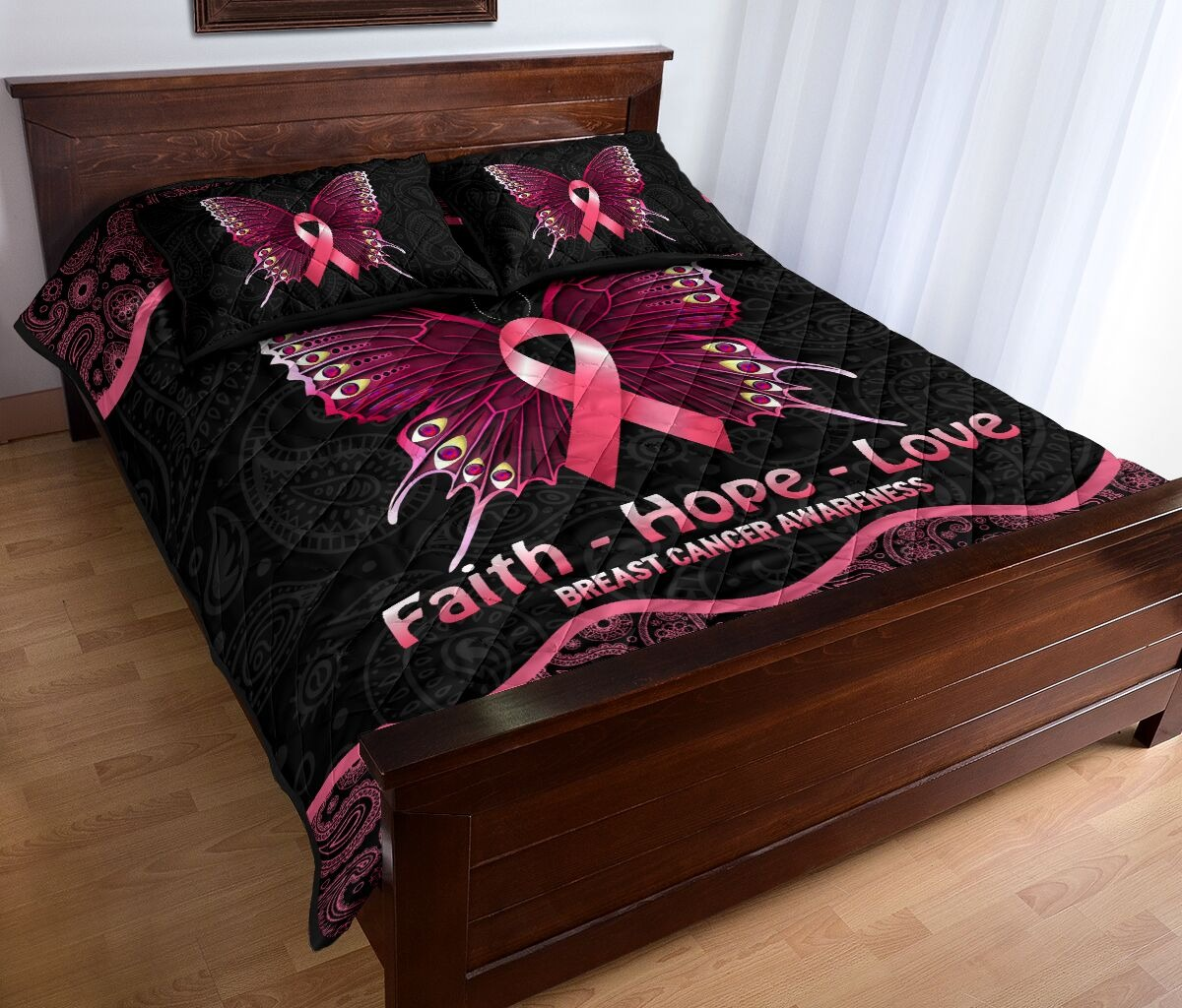 Butterfly faith hope love breast cancer awareness quilt bedding set2
