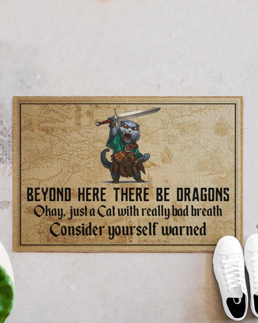 Cat beyond here there be dragons doormat4