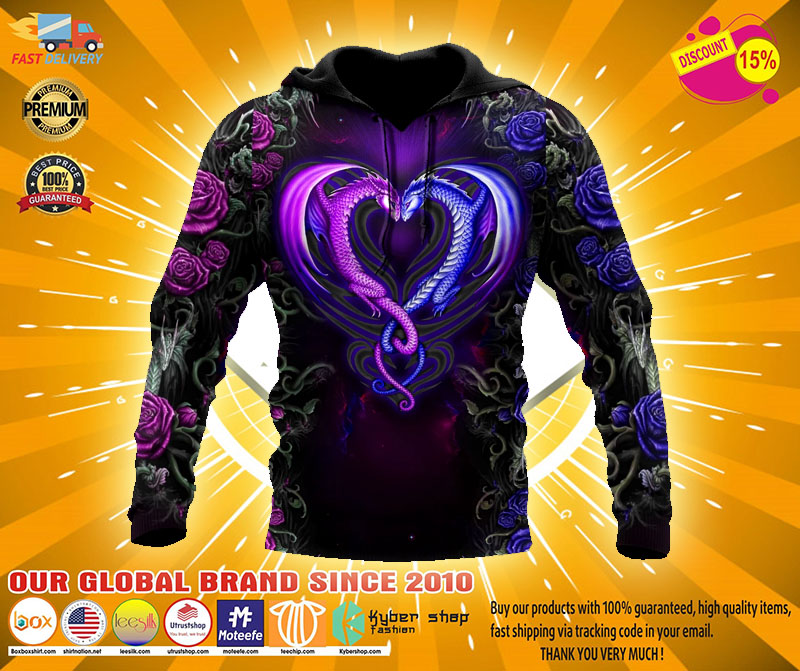 Dragon couples 3D Over print hoodie2