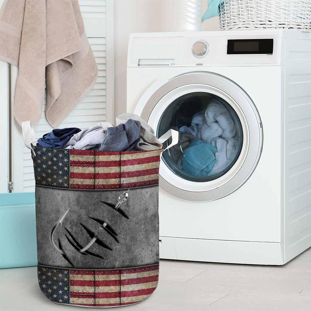 Fishing American flag basket laundry3