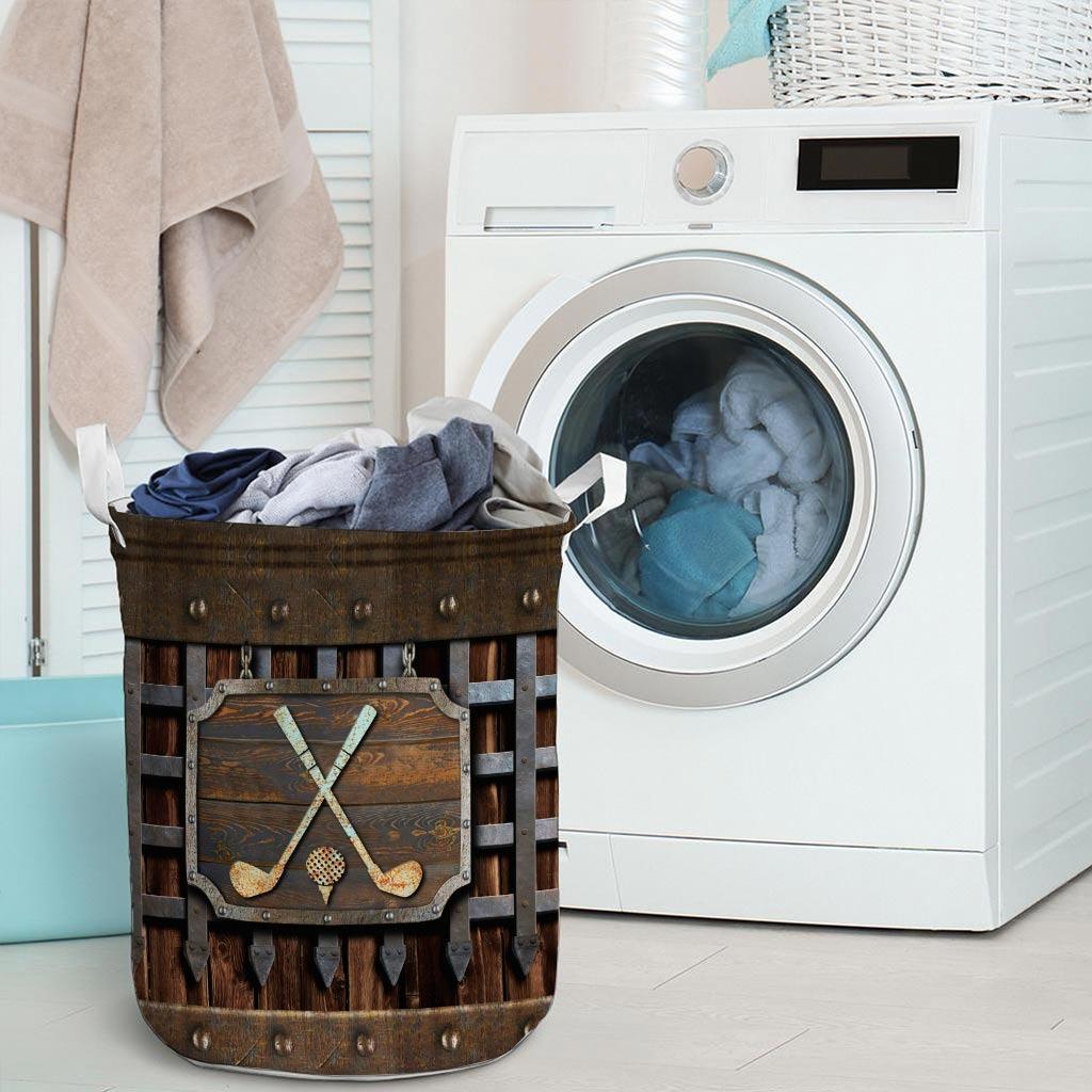 Golf faux metal print basket laundry3