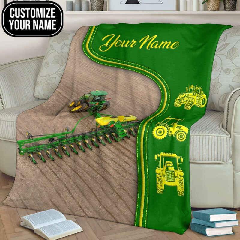 Green tractor farmer custom name blanket3