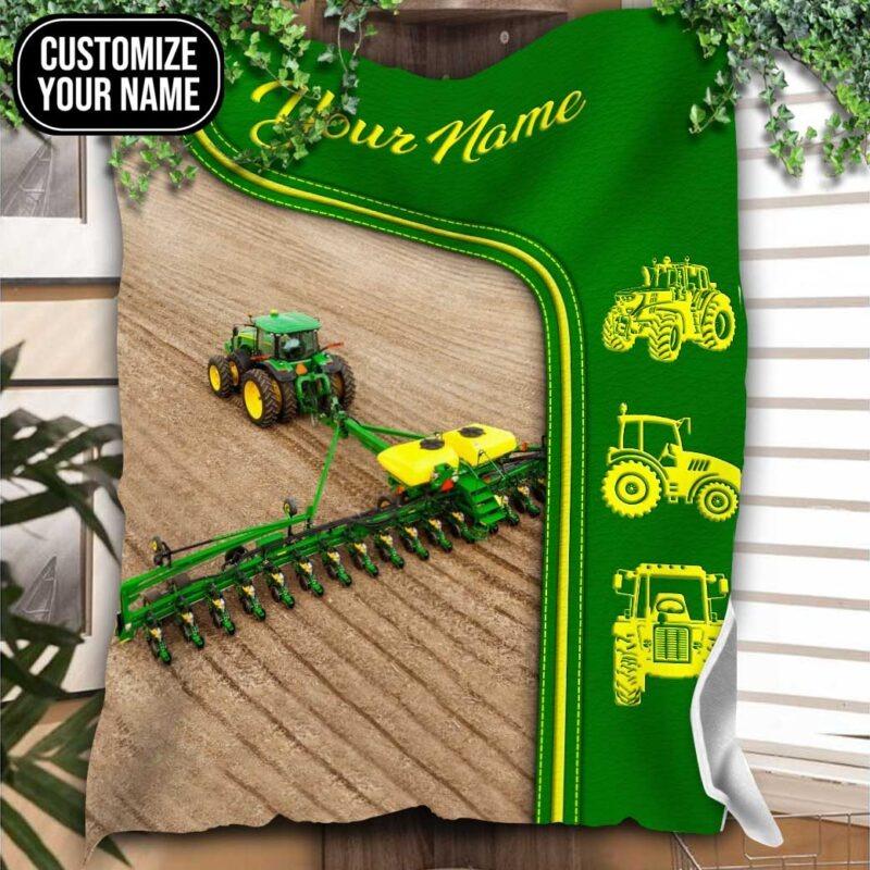 Green tractor farmer custom name blanket2