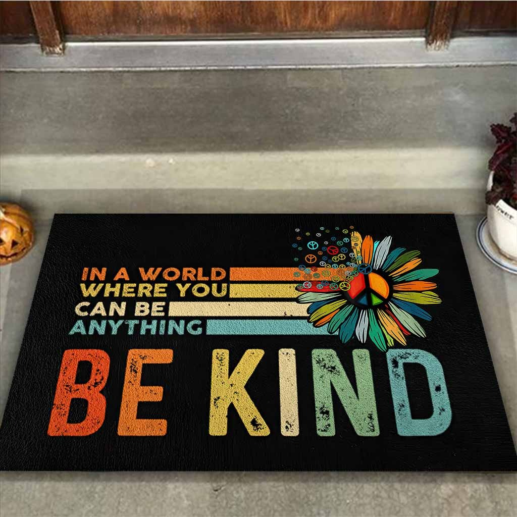 Hippie In a world where you can be anything be kind doormat2