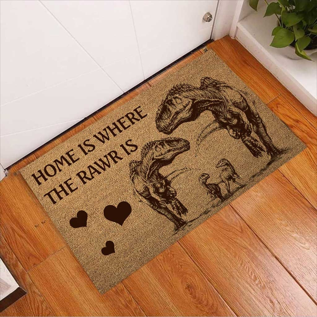 Home is where the rawr is dinosaur doormat3 1