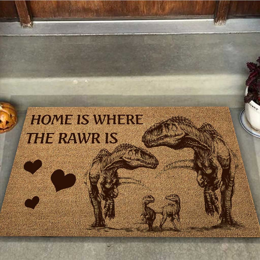 Home is where the rawr is dinosaur doormat2 1