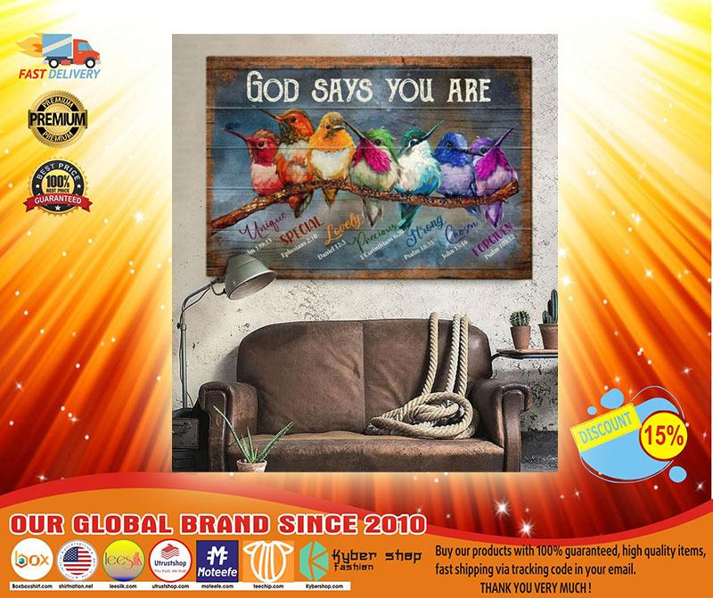 Hummingbird God says you are canvas4