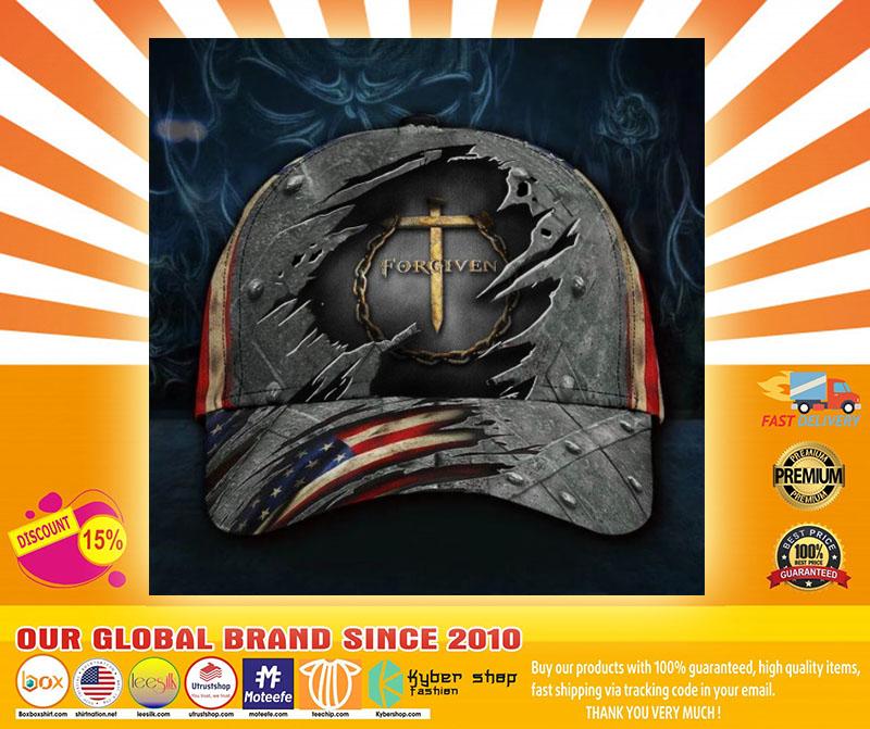 Jesus forgiven American flag classic cap4
