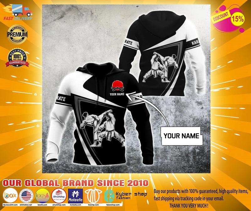 Karate custom name 3D hoodie2