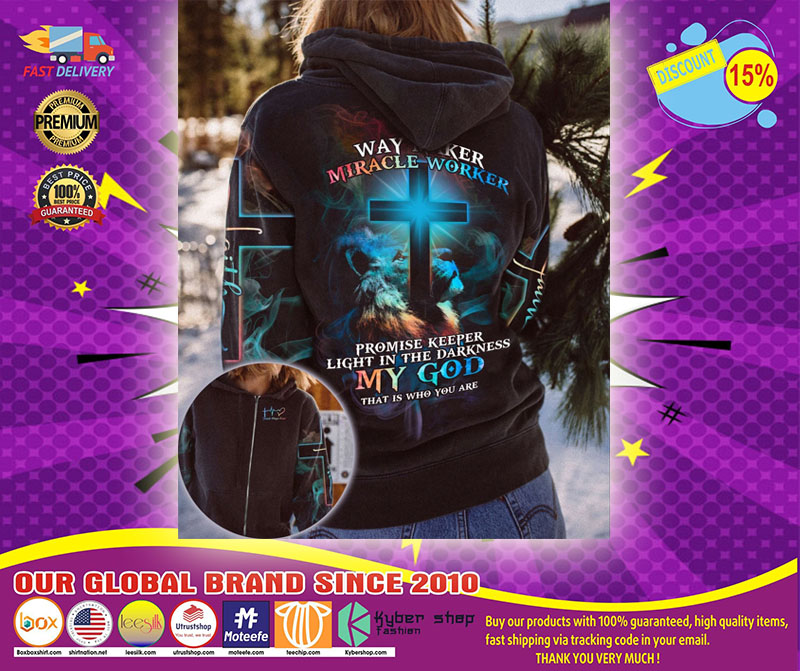 Lion and cross way maker miracle worker 3D hoodie shirt1