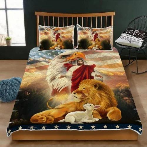 Lion and the lamb Jesus eagle bedding set2