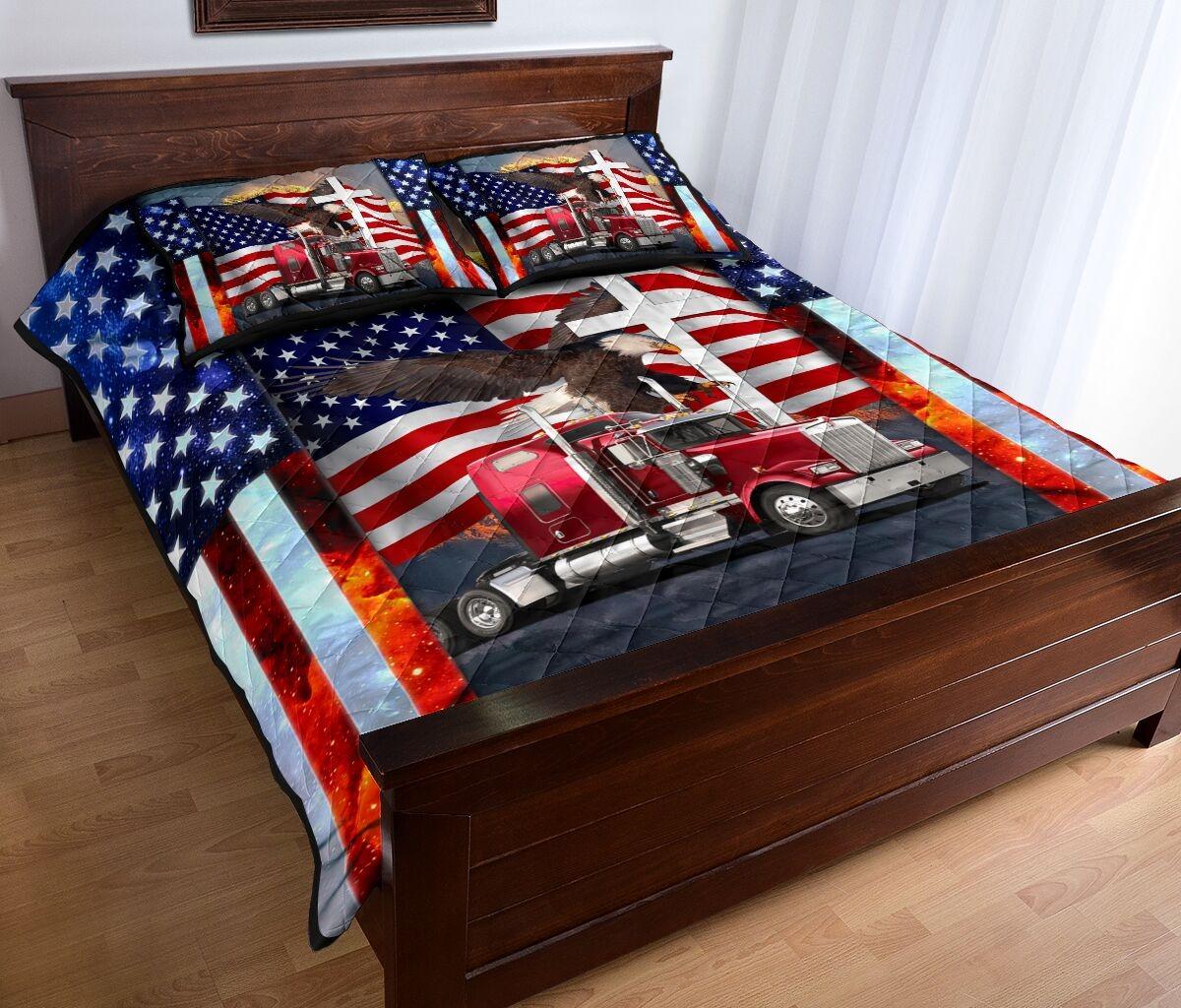 One nation truck quilt bedding set2
