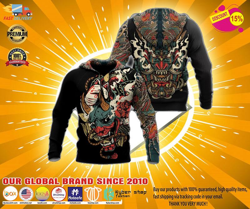 Oni mask tattoo 3D hoodie2