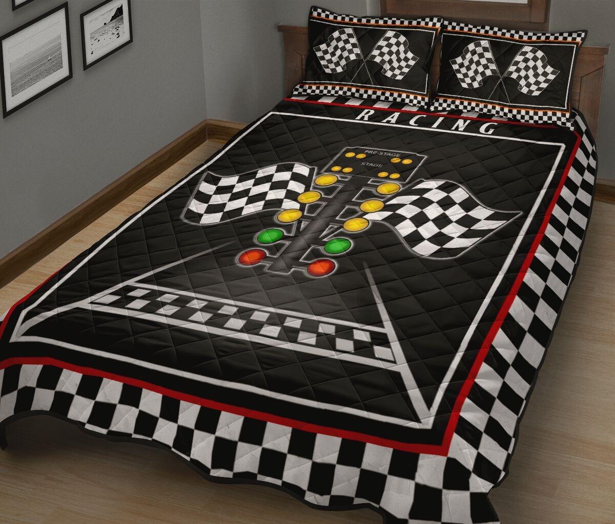 Racing flag lights quilt bedding set1