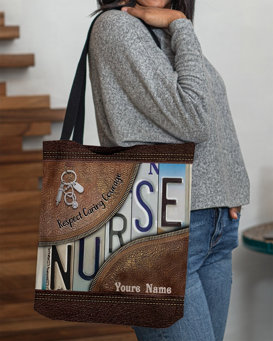 Respect caring courage custom name tote bag2