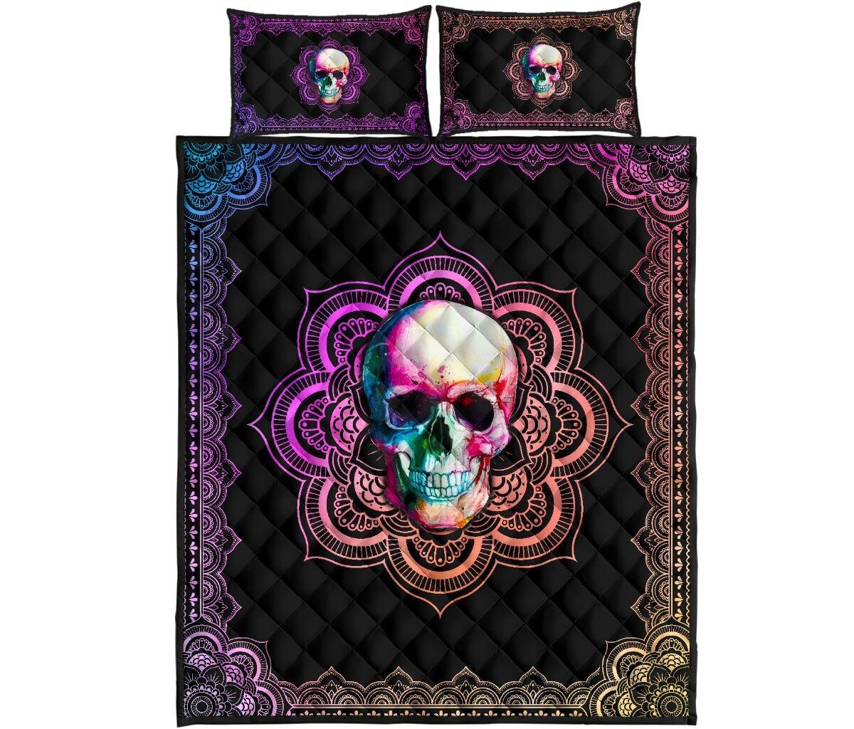 Skull mandala color quilt bedding set4