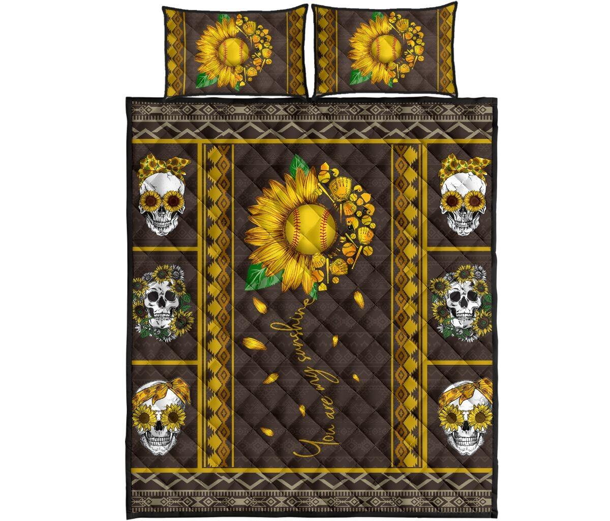 Soflball sunflower quilt bedding set4