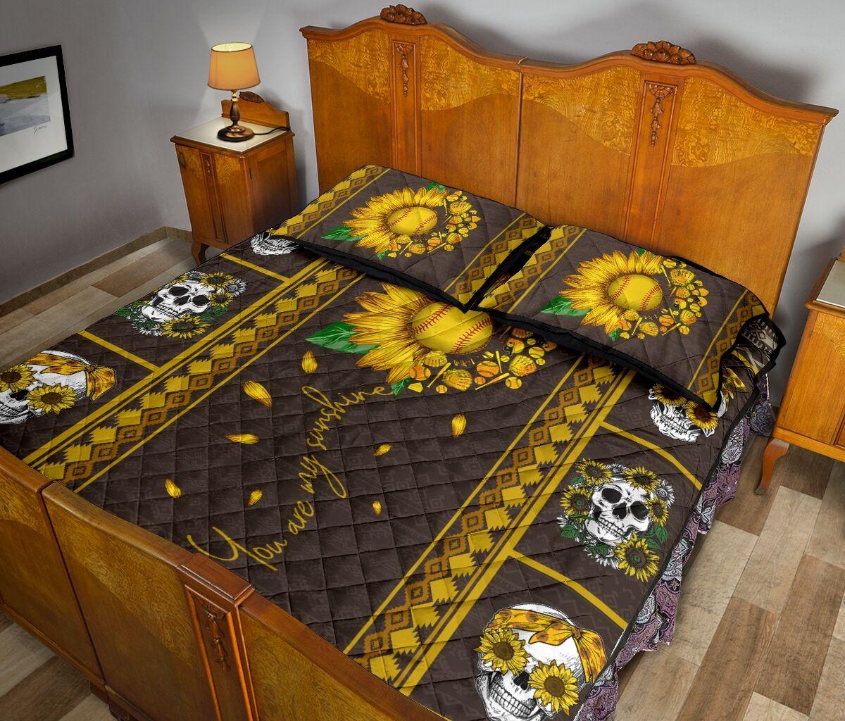Soflball sunflower quilt bedding set3