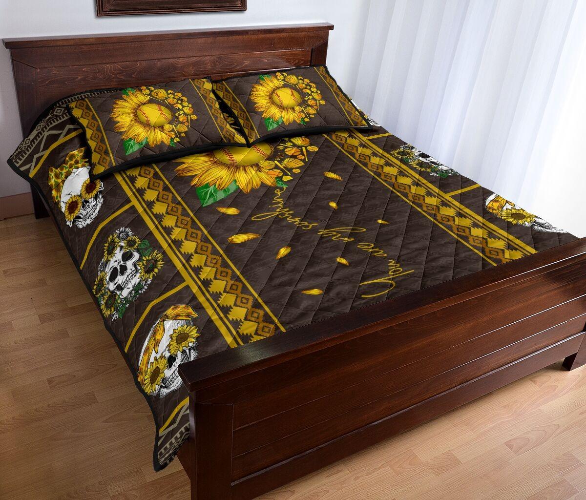 Soflball sunflower quilt bedding set2