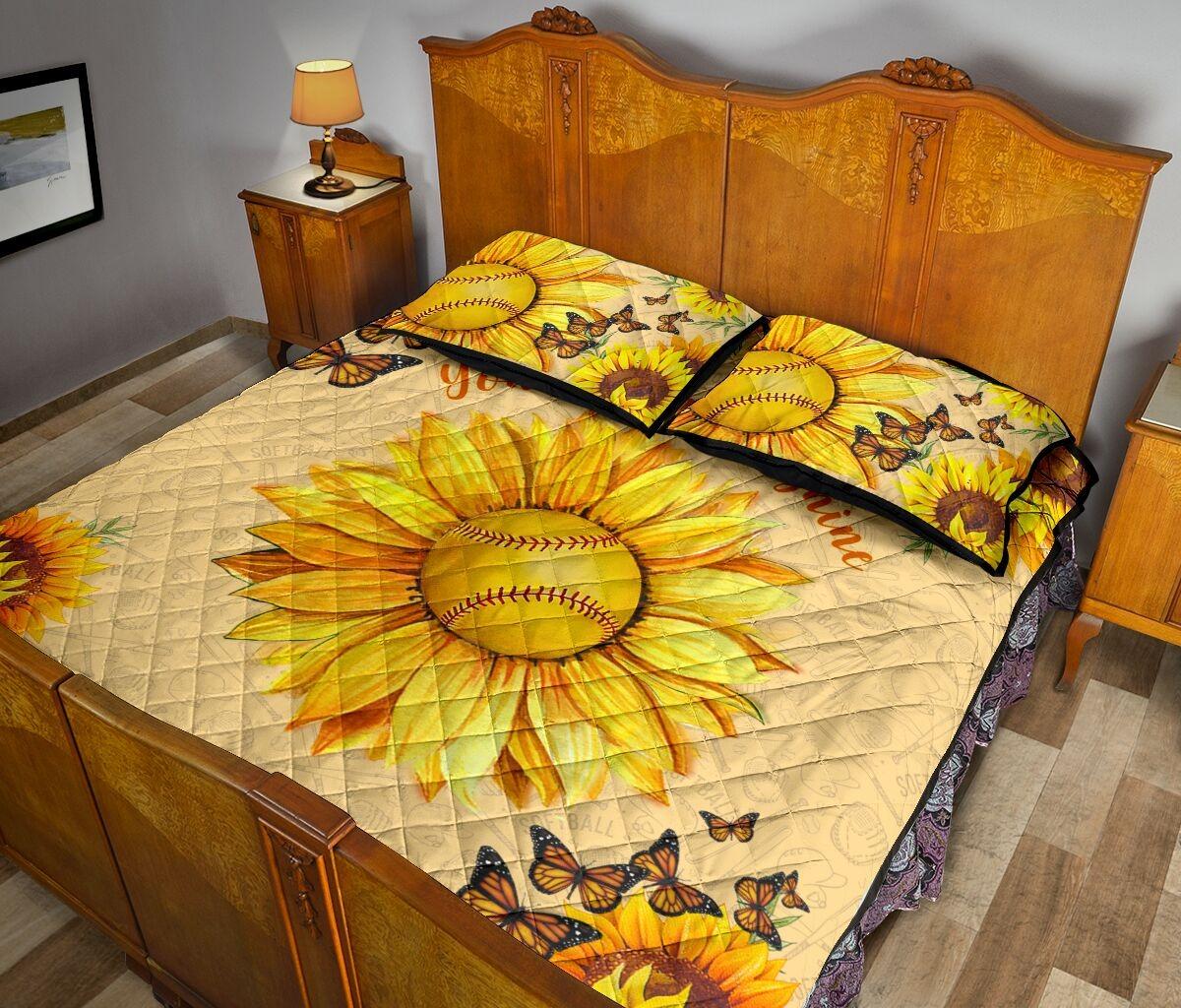 Sunflower softball quilt bedding set3