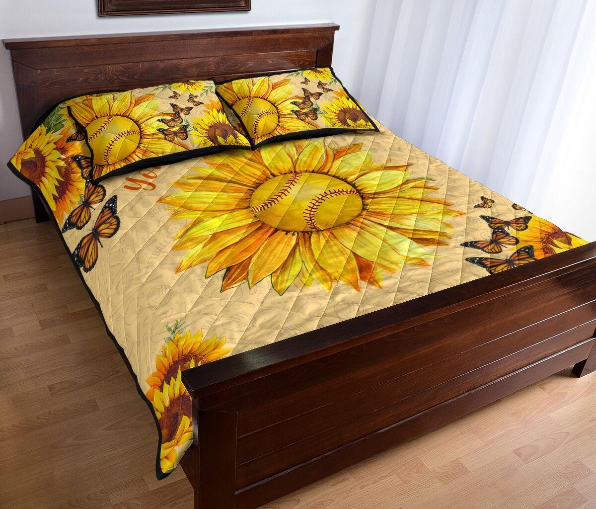 Sunflower softball quilt bedding set2