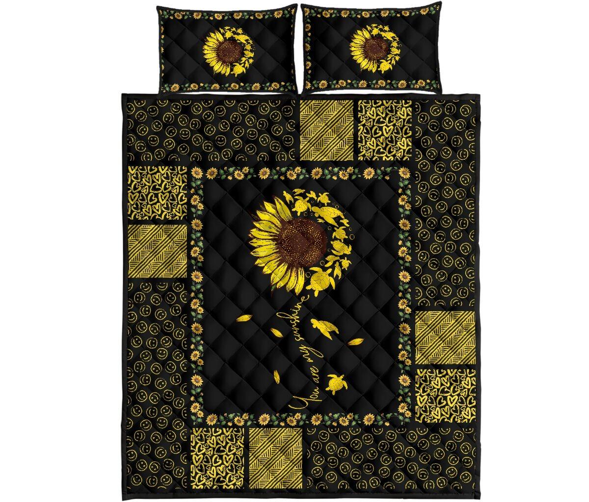 Sunflower sunshine turtle quilt bedding set4