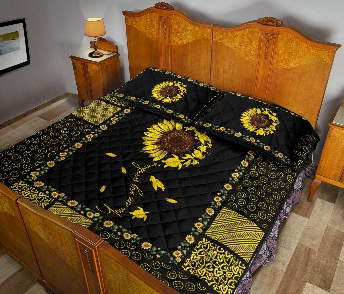 Sunflower sunshine turtle quilt bedding set3