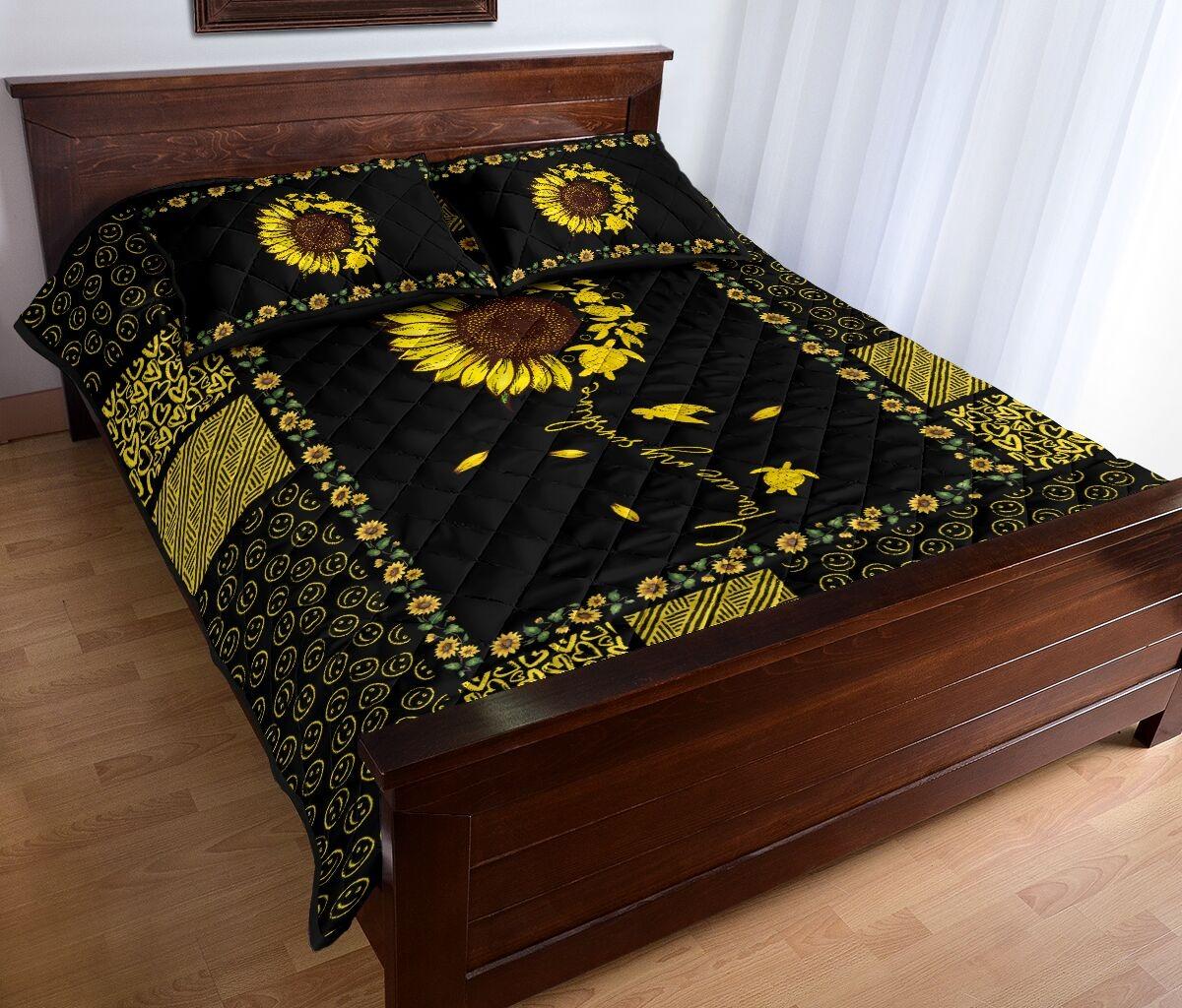 Sunflower sunshine turtle quilt bedding set2