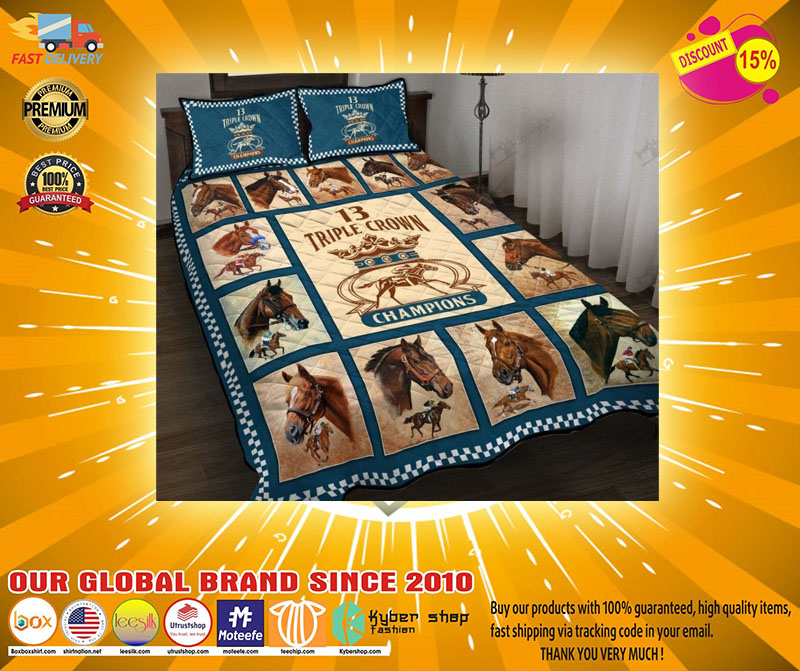Triple crown of champions horse quilt bedding set22