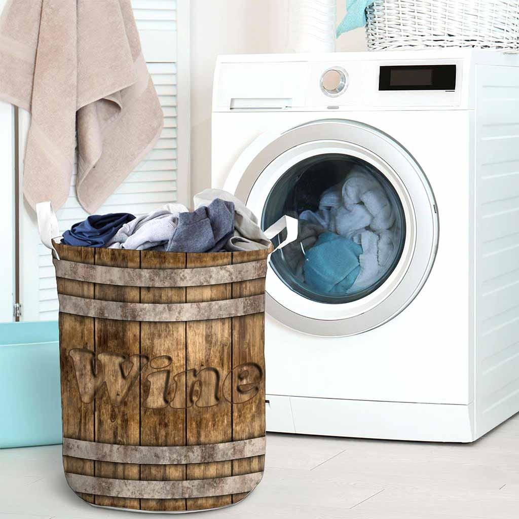 Wine faux wood print basket laundry3