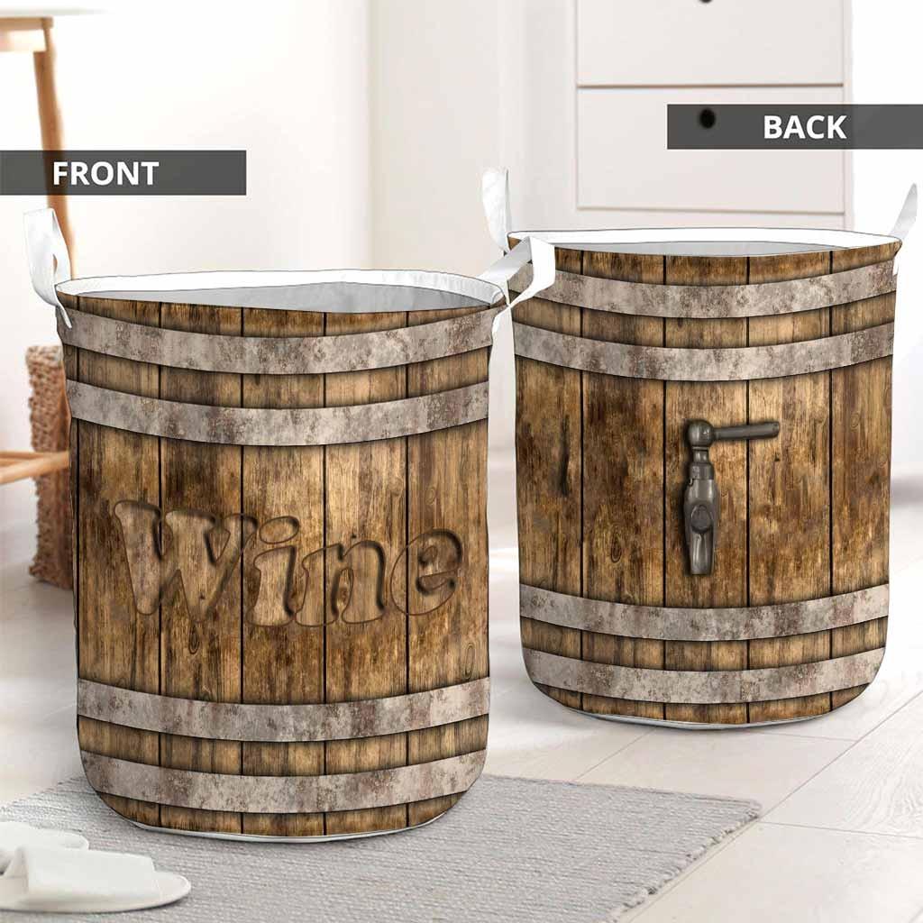 Wine faux wood print basket laundry2