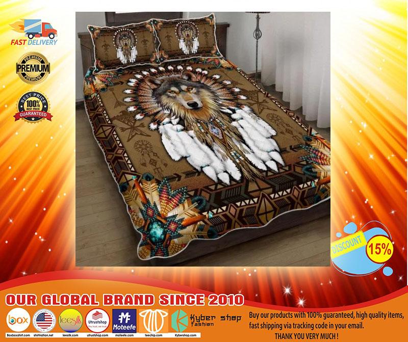 Native American wolf spirit quilt bedding set4