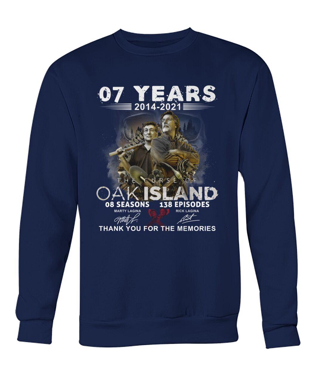 07 years 2014 2021 OAK island 08 seasons thank you for memories shirt 13