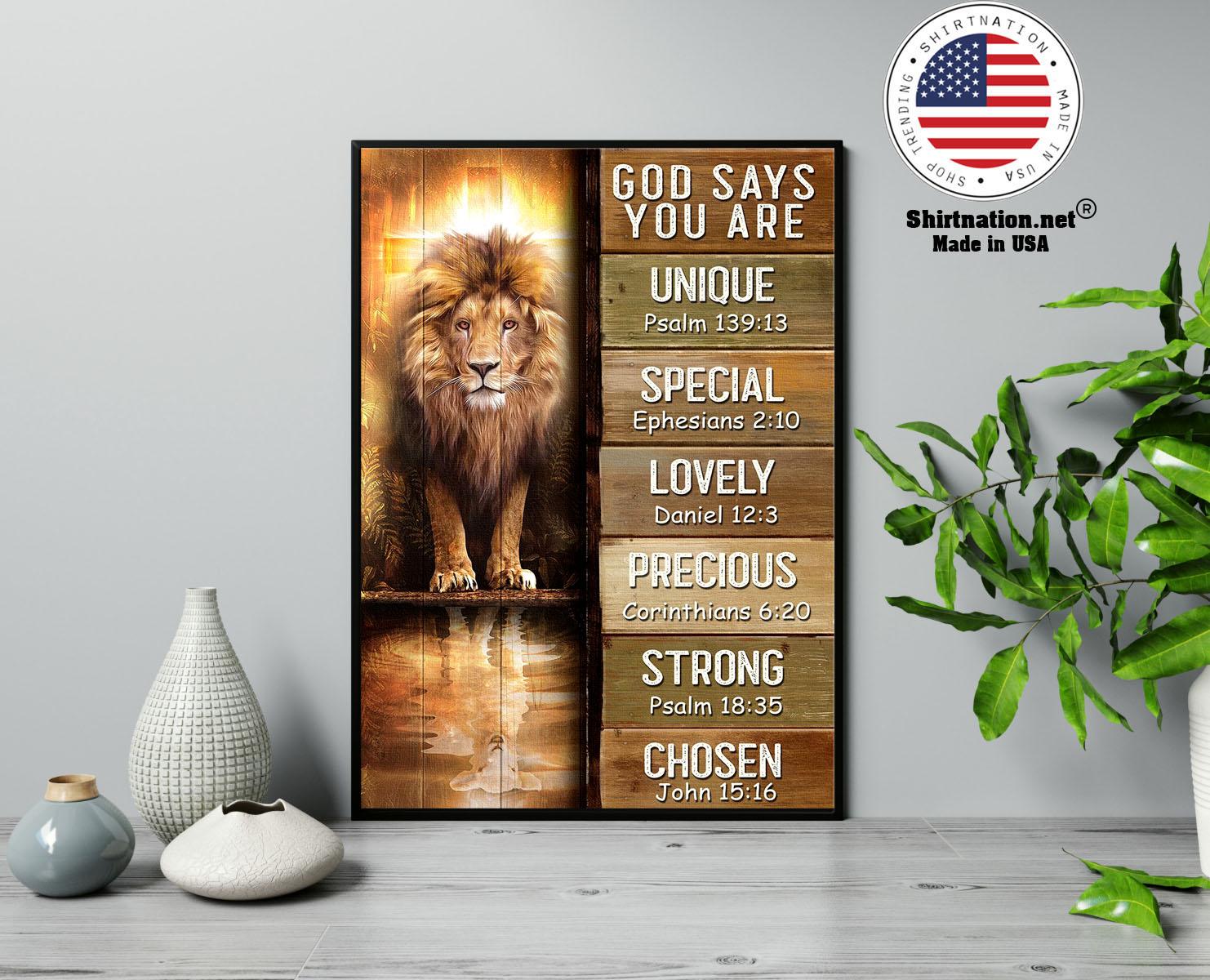 Amazing lion god says you are unique poster 13