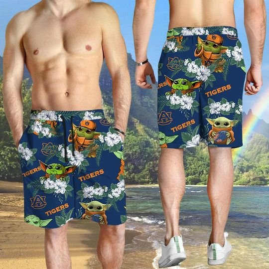 Auburn Tigers And Yoda Hawaiian And Beach Short3